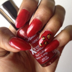 Red, and Gold Leopard Nails